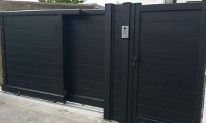 Coulissant télescopique noir - clôure portillon région parisienne Hauts de seine 92