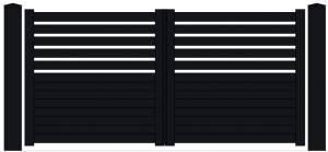 Portail semi-plein, lames horizontales Kebenn